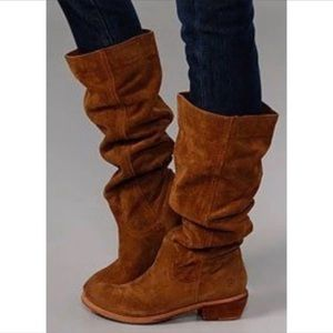 Bronx tall pull up wood block heel suede boots